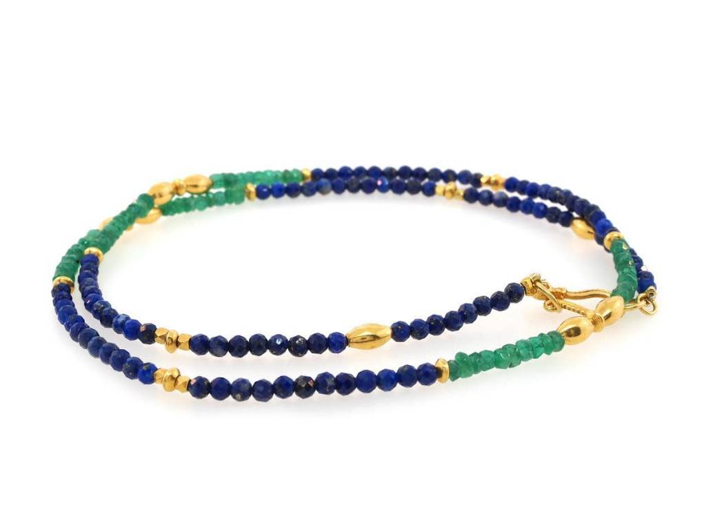 Trabert Goldsmiths Emerald and Lapis Gold Beaded Necklace