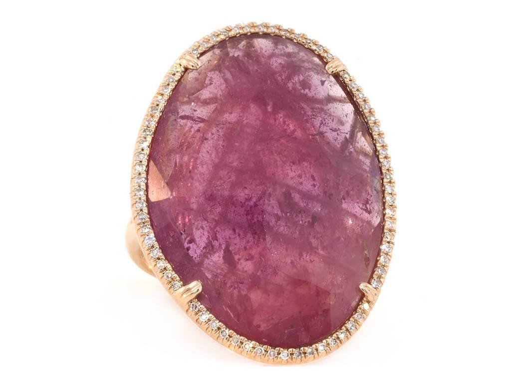 Trabert Goldsmiths Asymmetrical Pink Sapphire and Pave Diamond Ring