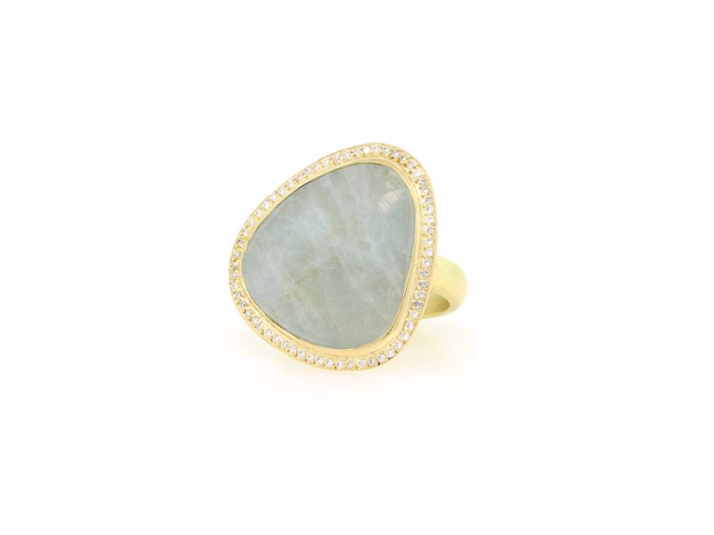 Trabert Goldsmiths Freeform Aquamarine and Diamond Ring