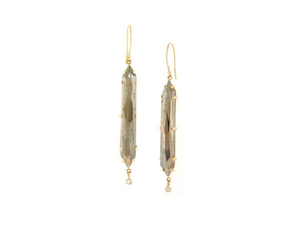 Jamie Joseph Jewelry Designs Pyrite and Diamond Dagger Drop Earrings