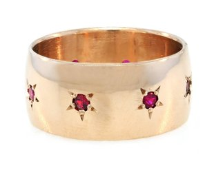 Trabert Goldsmiths Wide Rose Gold Ruby Star Band E1296