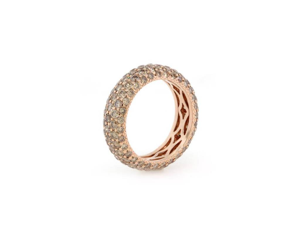 Trabert Goldsmiths Champagne Pave Diamond Ring