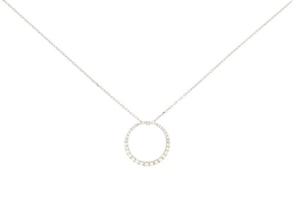 Trabert Goldsmiths Pave Diamond Circle Necklace