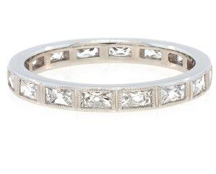 Trabert Goldsmiths Platinum French Baguette Diamond Ring E1307