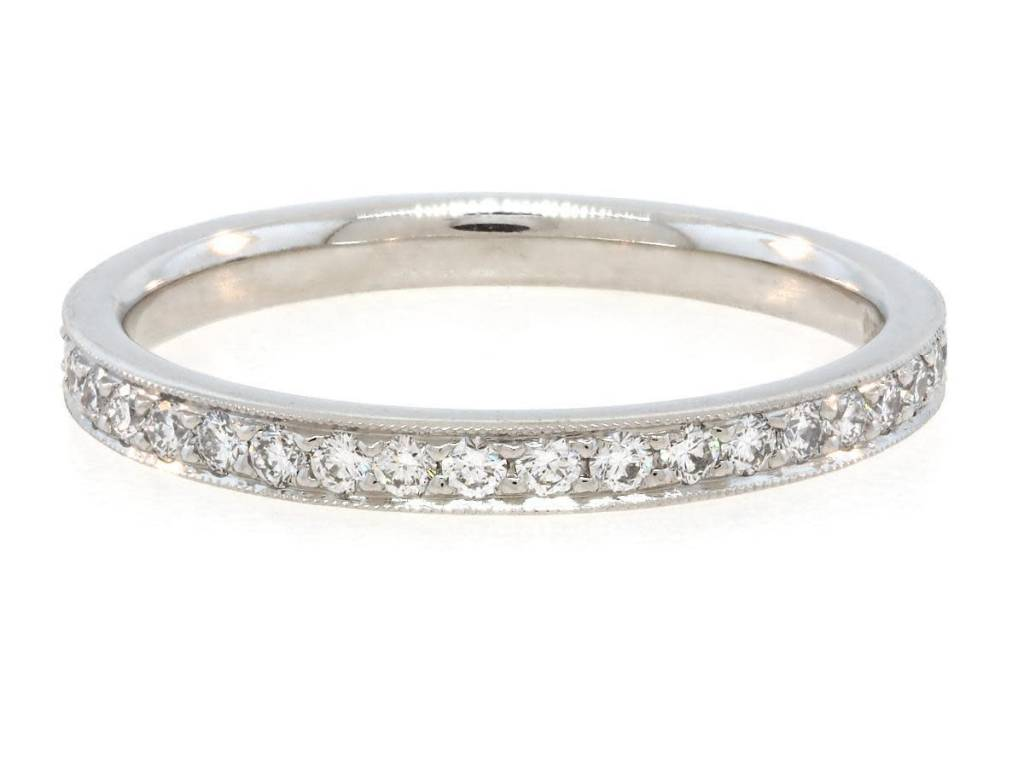 Trabert Goldsmiths Classic Pave Dia Plat Eternity Band