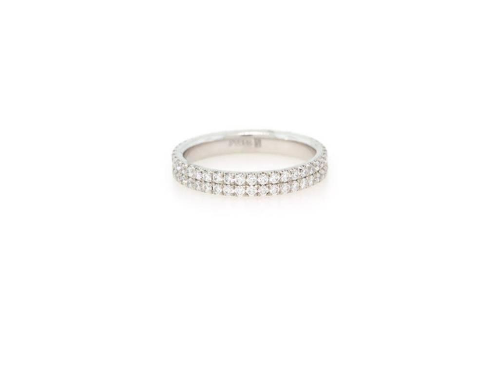 Trabert Goldsmiths Diamond Pave Double Row Ring