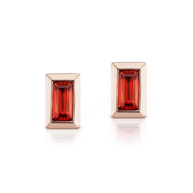 Cirque Petite Studs with Red-Orange Sapphires