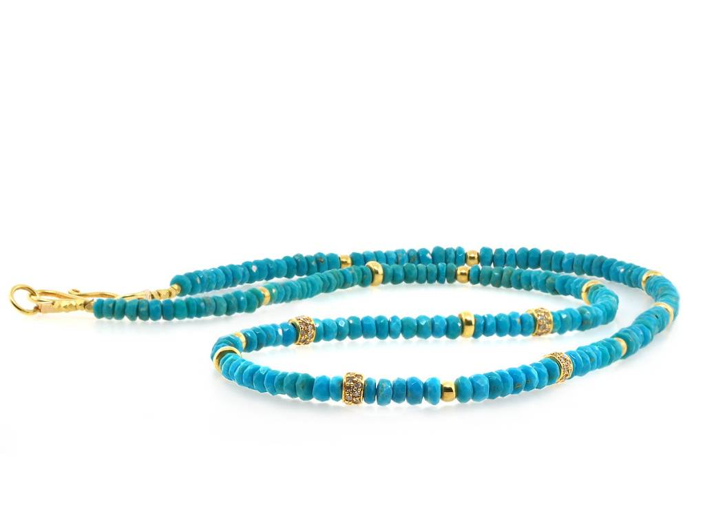 Trabert Goldsmiths Turquoise and Dia Beaded Necklace