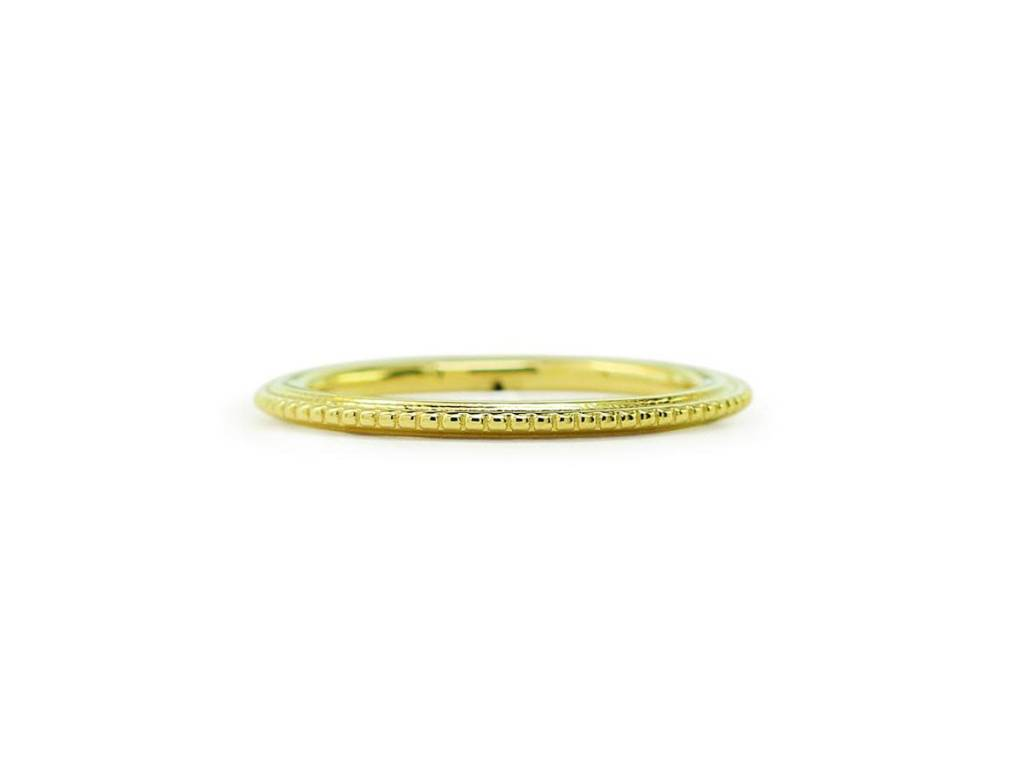 ILA Beaded Textured Gold Band
