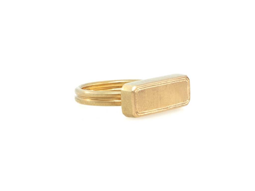 Trabert Goldsmiths Bullion Bar Gold Signet Ring
