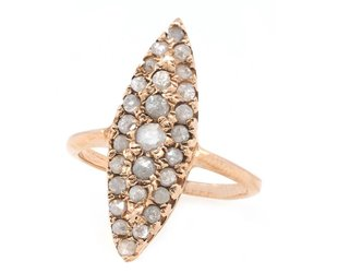 Arik Kastan Grey Diamond Rose Gold Navette Ring AK4