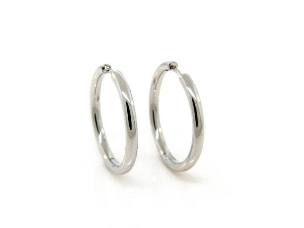 Breuning White Gold Hoop Earrings