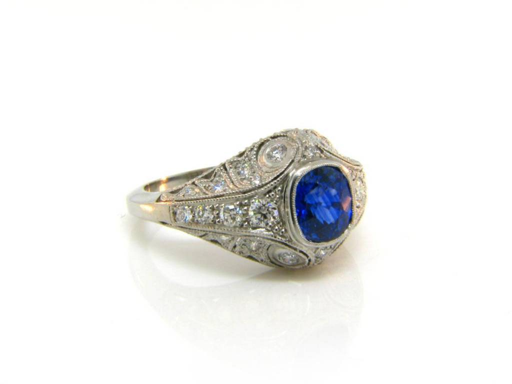 1.48ct Ceylon Cushion Cut Sapphire Diamond Antique Inspired Ring