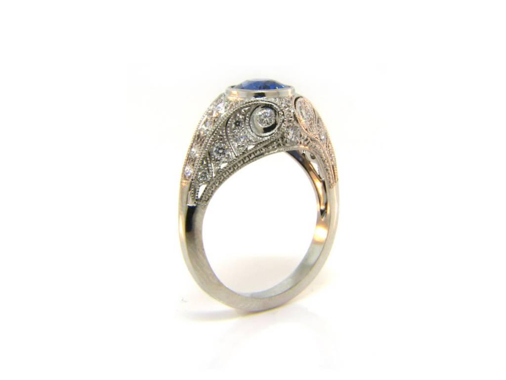 Sebastien Barier 1.48ct Ceylon Cushion Cut Sapphire Diamond Antique Inspired Ring