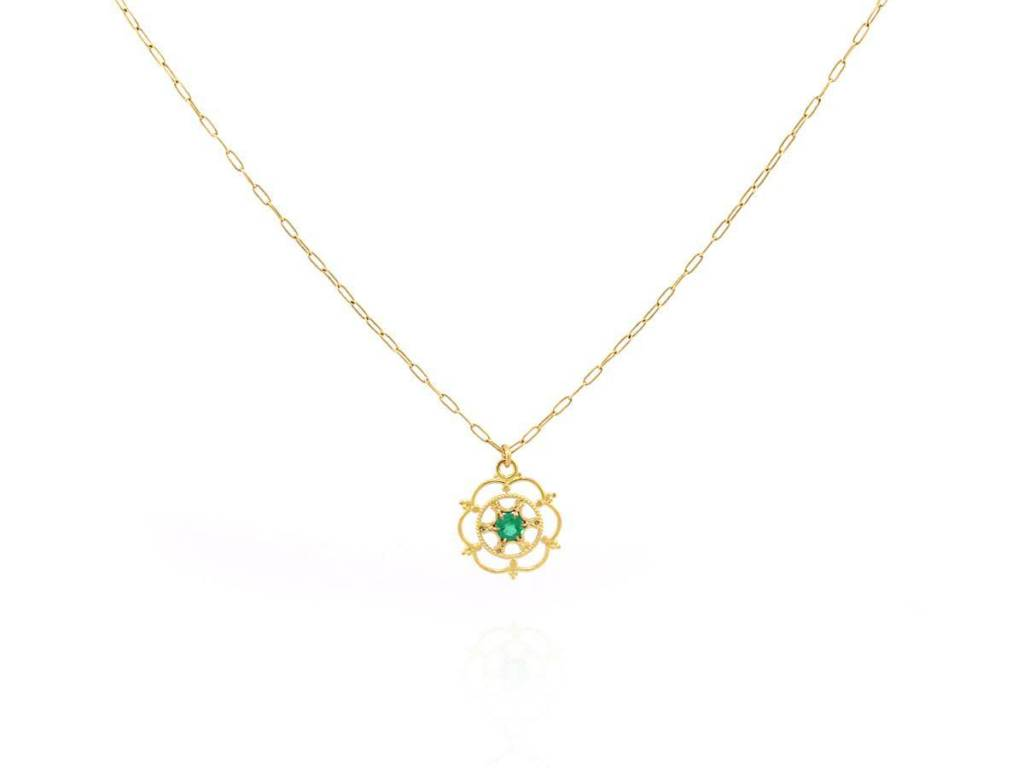 Trabert Goldsmiths Circular Pendant with Emerald Accent