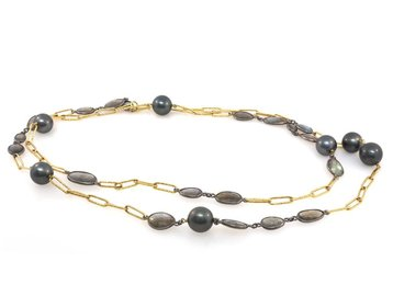 Trabert Goldsmiths Lab And Cultured Tahitian Pearl Gold Chain Neck E1337