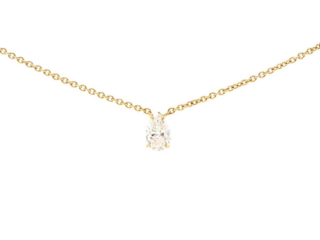 Trabert Goldsmiths Pear Shaped Diamond Solitaire Neck