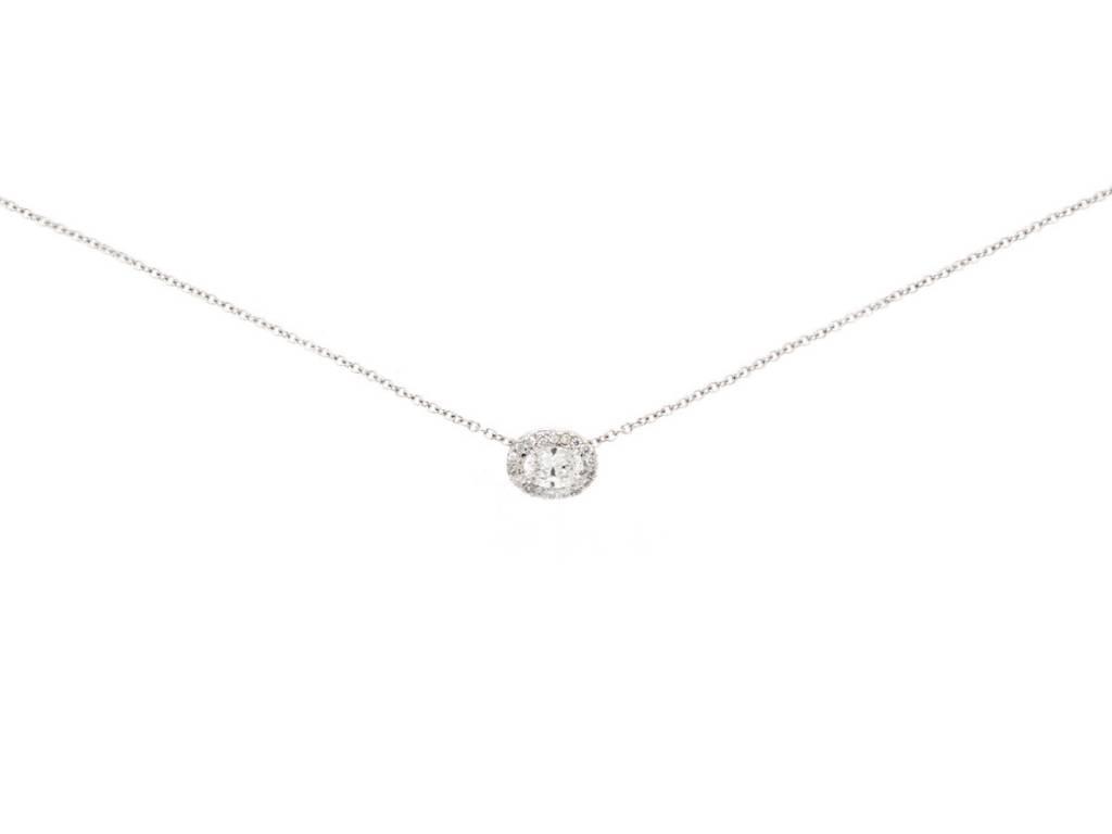 Trabert Goldsmiths Oval Diamond Halo Necklace