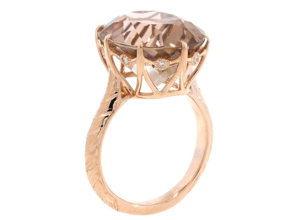 Trabert Goldsmiths Peach Rose Tourmaline Rose Gold Ring