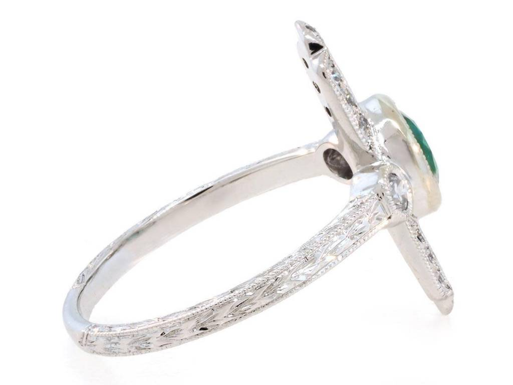 Beverley K Collection Deco Emerald and Diamond Baguette Ring