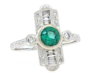 Beverley K Collection Deco Emerald and Dia Baguette Ring AB438