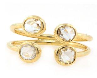 Rose Cut Diamond Open Cuff Ring E1404