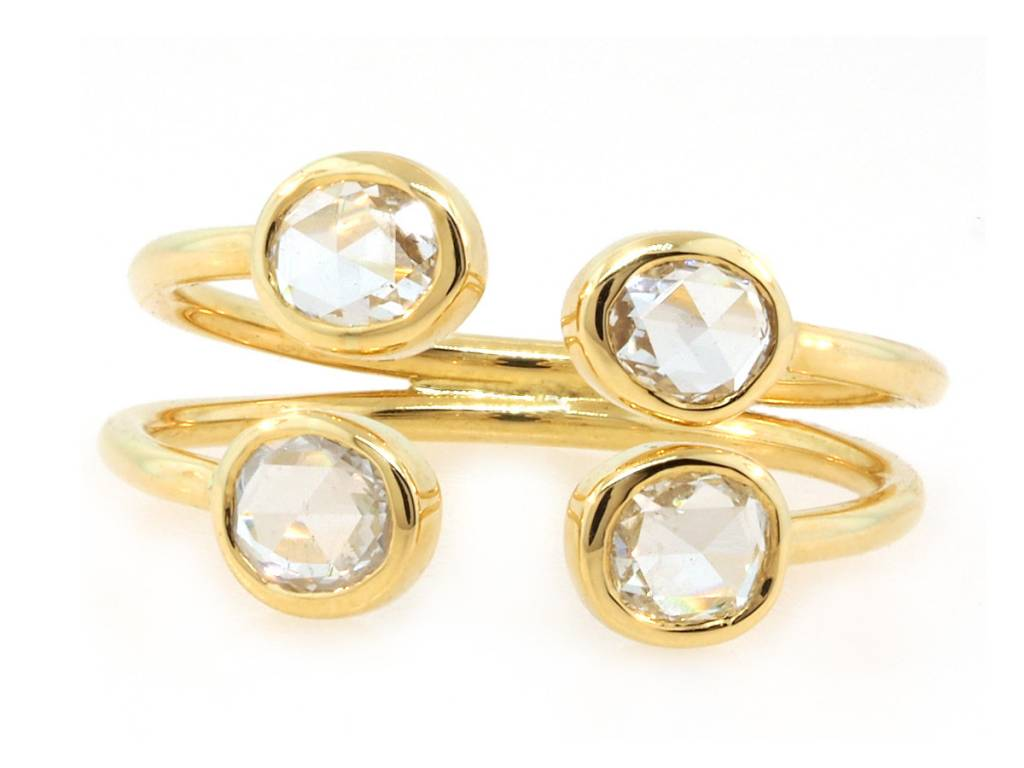 Trabert Goldsmiths Rose Cut Diamond Open Cuff Ring