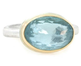Jamie Joseph Jewelry Designs Oval Faceted Aquamarine Ring JD107