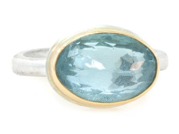 Jamie Joseph Jewelry Designs Oval Faceted Aquamarine Ring