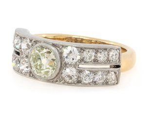 2.02ct Antique Wide Plat and Dia Band E1276