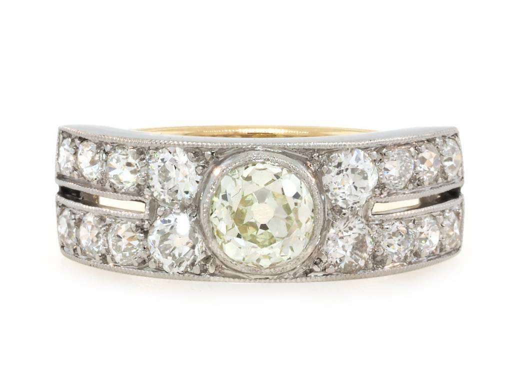 2.02ct Old Mine Cut Antique Wide Platinum and Diamond Band