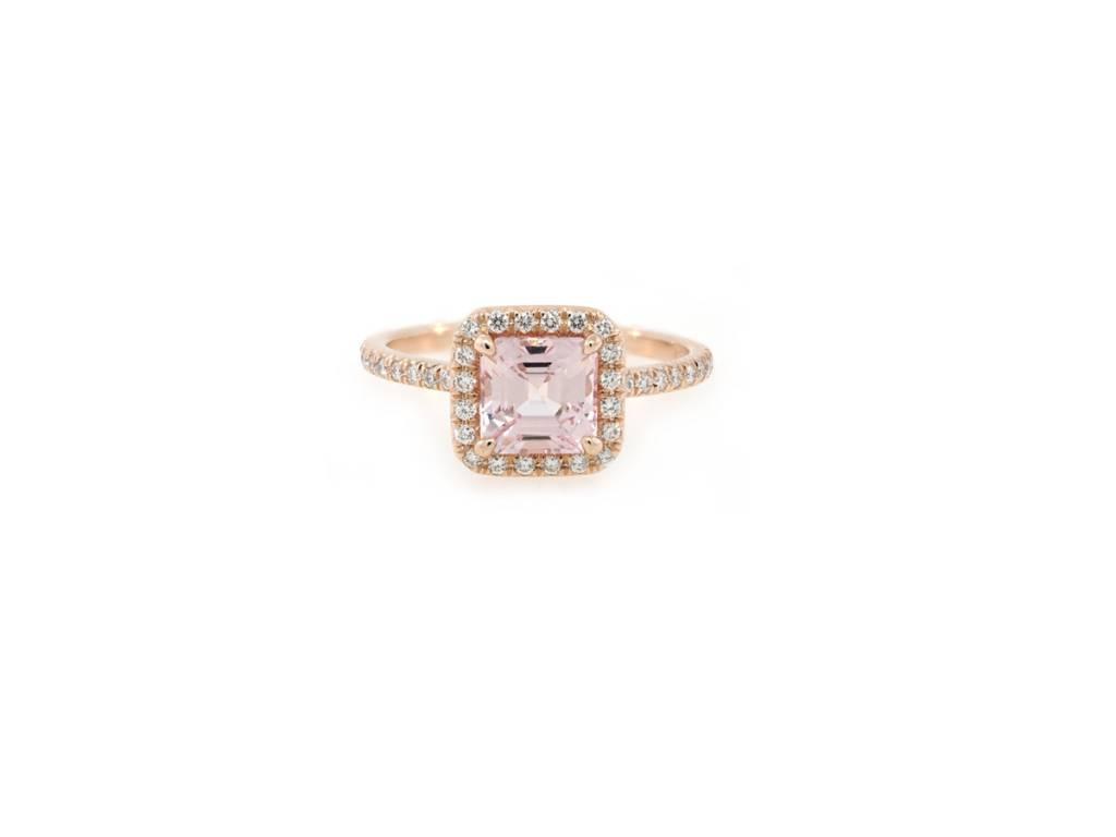 Trabert Goldsmiths 1.57ct A.Cut Peach Sapphire  'Goddess' Halo Ring
