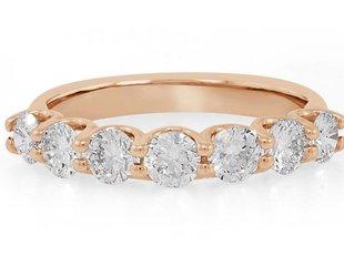 Trabert Goldsmiths 7 Stone Diamond and Rose gold Ring E1374