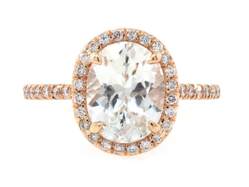 Trabert Goldsmiths White Sapphire Diamond Goddess Ring