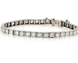Trabert Goldsmiths Antique Deco Dia Box Link Bracelet E1413