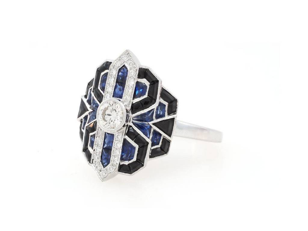 Beverley K Collection Deco Inspired Sapphire and Diamond Ring