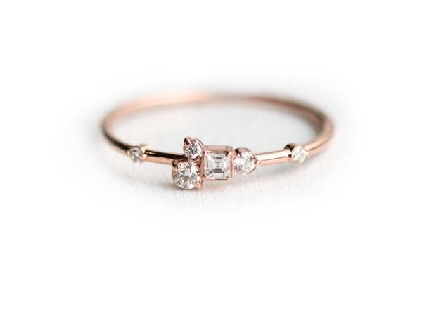 Melanie Casey Pinch of Sugar Diamond Cluster 14 karat Rose Gold Ring