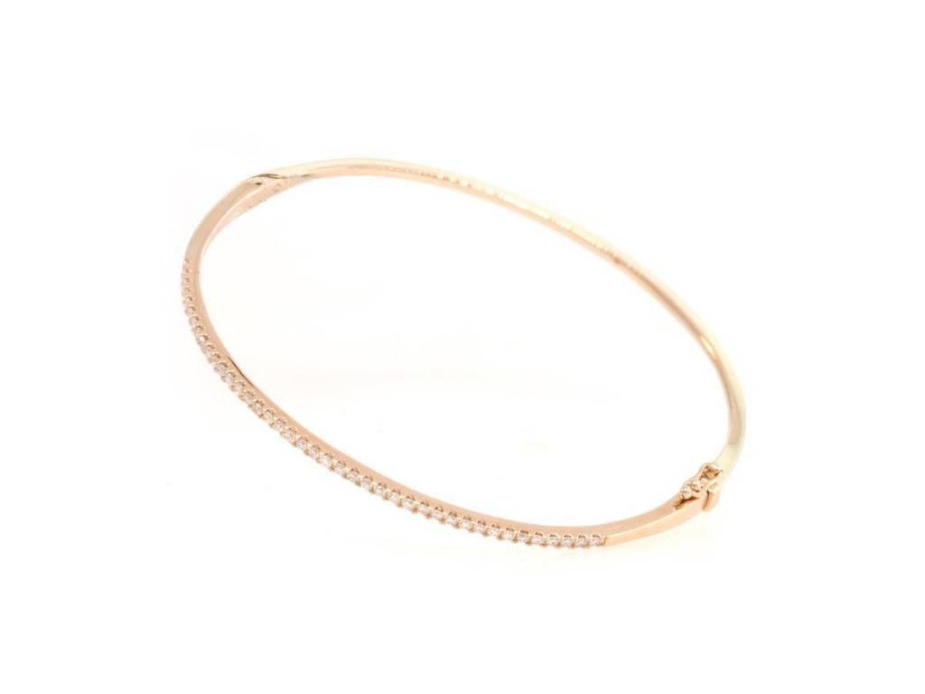Rose Gold Pave Diamond Hinged Bracelet