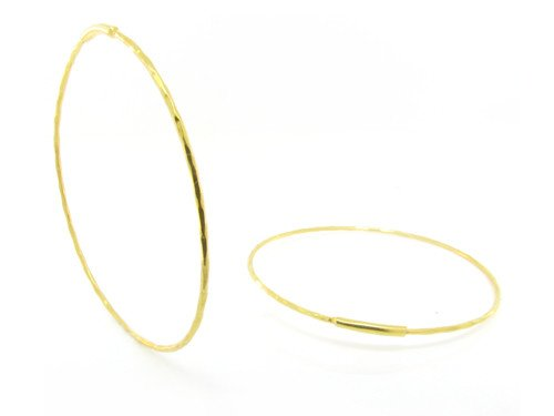 Trabert Goldsmiths Yellow Gold Large Hammered Hoops