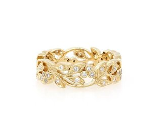 Beverley K Collection Wide Gold and Diamond Floral Band AB80