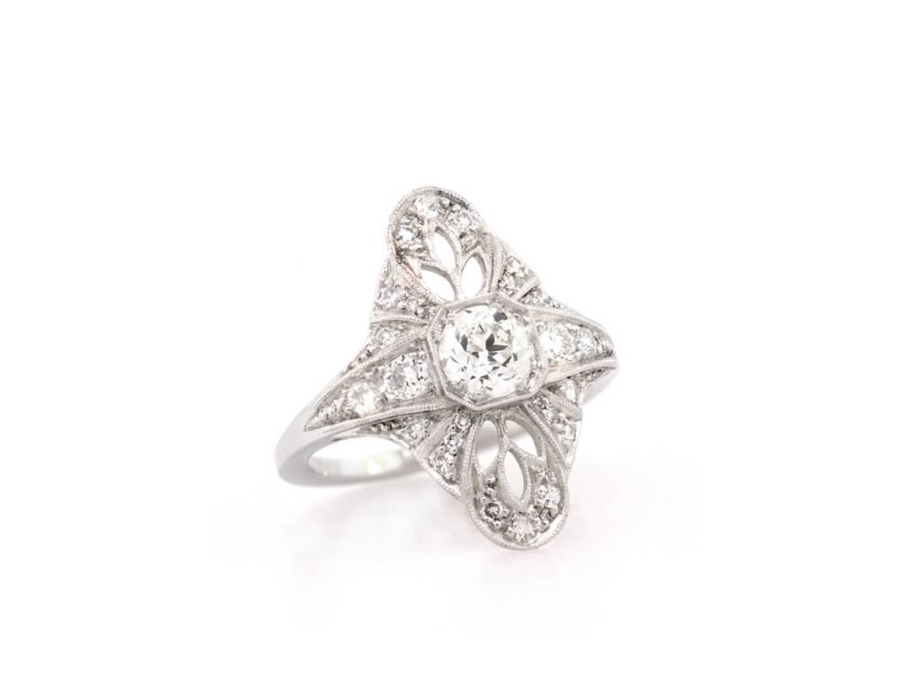 Trabert Goldsmiths Antique Inspired Old European Diamond Ring