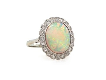 Trabert Goldsmiths Antique Opal and Dia Cluster Ring E1190