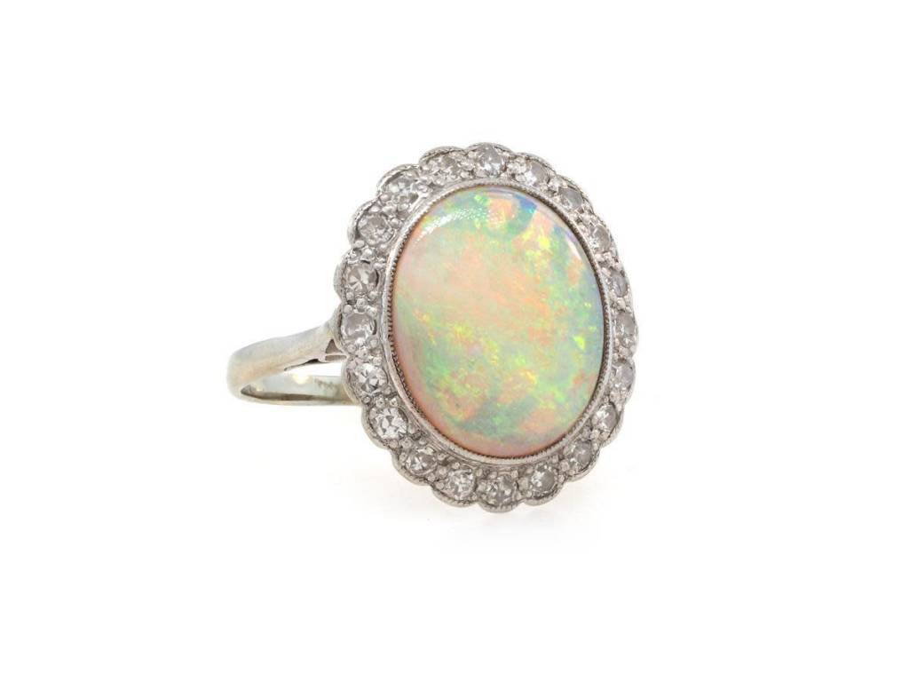 Trabert Goldsmiths Antique Opal and Diamond Cluster Ring