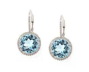Luvente Blue Topaz Dia Halo Drop Earrings LV52