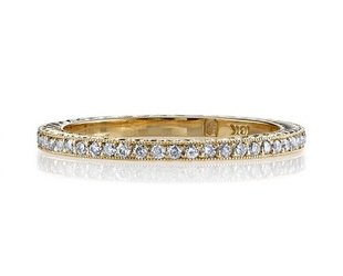 Single Stone Molly' Engraved Yellow Gold Pave Eternity Band