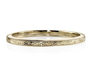Single Stone Hazel Engraved Gold Band