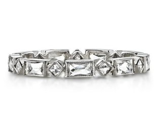 Single Stone Madeline' Plat Alt French Cut Dia Eternity Band