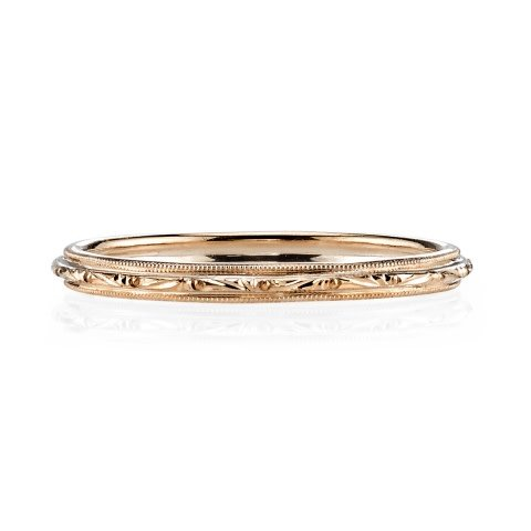 Single Stone 'Lucy' engraved band