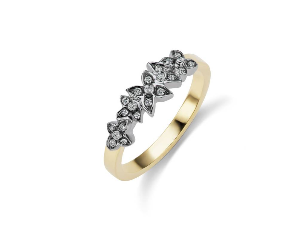 Floral Oxidized Pave Diamond Ring