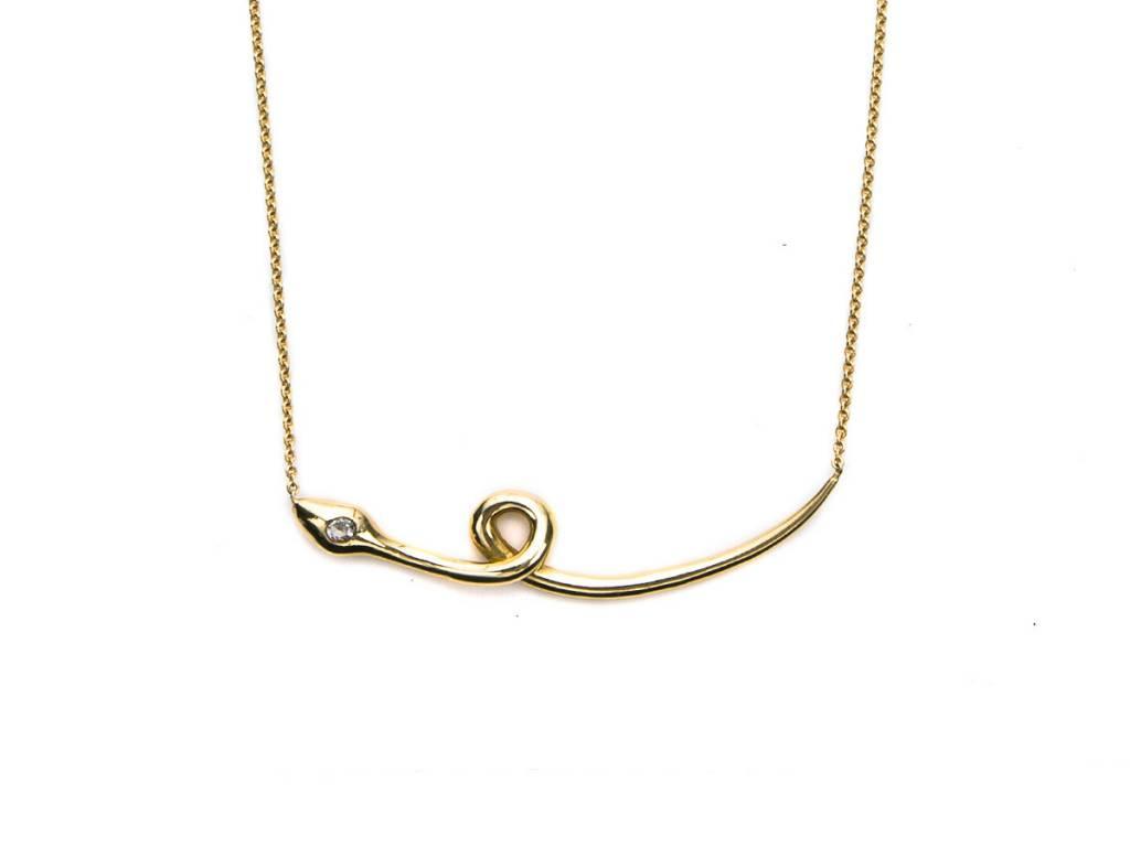 Sorellina Polished Gold Snake Necklace